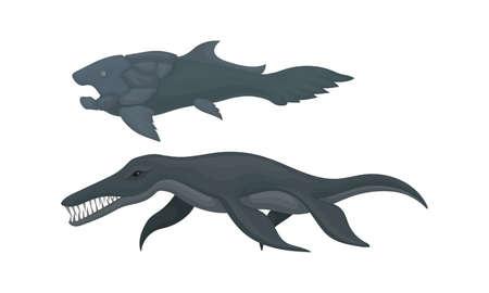 Extinct Prehistoric Animals with Aquatic Mammal Beasts Vector Set