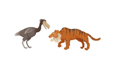 Extinct Prehistoric Animals with Terrestrial Mammal and Bird Vector Set