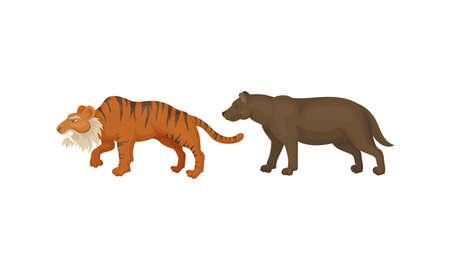 Extinct Prehistoric Animals with Terrestrial Mammal Beasts Vector Set Ilustração