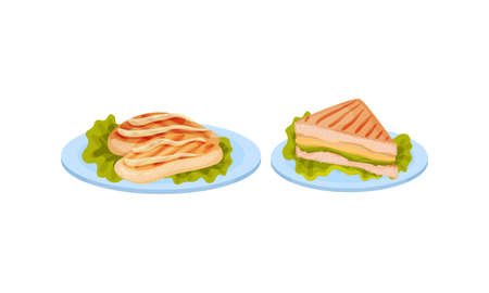 Meat Dishes with Chicken Fillet and Sandwich Served on Plate Vector Set