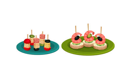 Finger Foods with Canape on Skewers as Small Portion of Food Vector Set