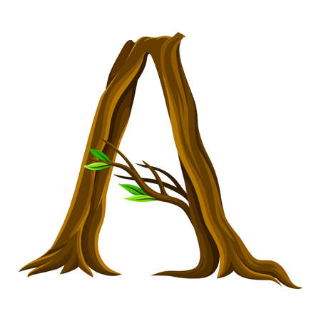 Capital Letter A as Forest Alphabet Symbol Arranged from Tree Trunk and Branches Vector Illustration