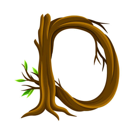 Uppercase Letter of Alphabet Arranged from Forest Elements Like Tree Trunk and Branches Vector Illustration