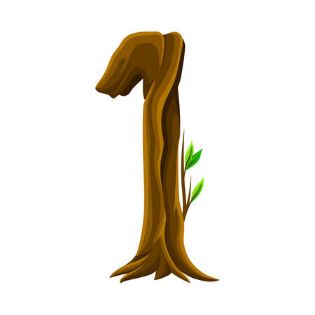 Woody Number One Arranged from Branching Tree Stem and Green Leaves Vector Illustration