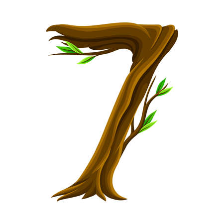 Woody Number Seven Arranged from Branching Tree Stem and Green Leaves Vector Illustration