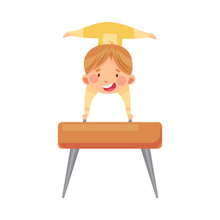 Beaming Boy Doing Gymnastics Vaulting on Pommel Horse Vector Illustration