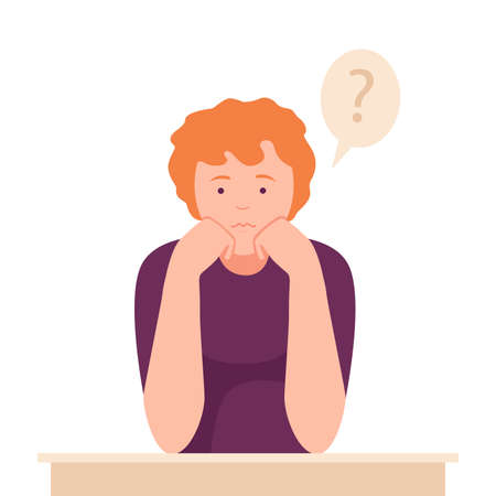 Female Sitting at Table with Pensive Face Expression Thinking and Considering of Something Vector Illustration Ilustração