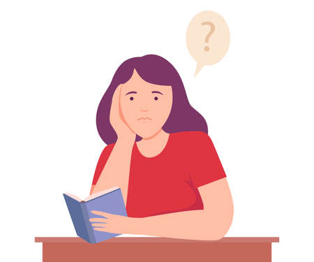 Female Sitting at Table with Notepad Thinking and Considering of Something Vector Illustration