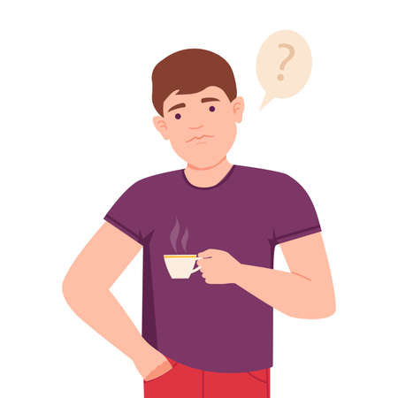 Thoughtful Man Standing with Cup of Coffee Thinking and Considering of Something Vector Illustration