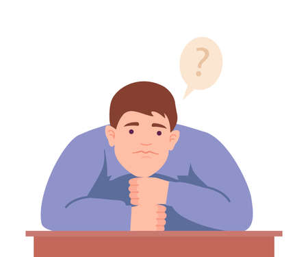 Male Sitting at Table with Pensive Face Expression Thinking and Considering of Something Vector Illustration