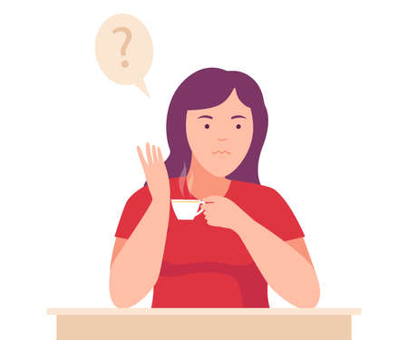 Female Sitting at Table with Pensive Face Expression Thinking and Considering of Something Vector Illustration
