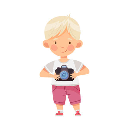 Blond Boy Holding Camera and Taking Photo Vector Illustration