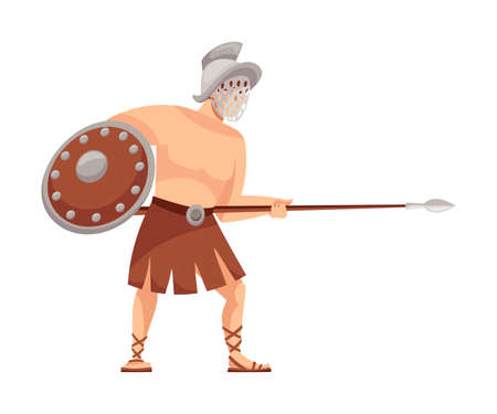 Ancient Roman Soldier or Greek Warrior Wearing Helmet Holding Spear and Shield Vector Illustration