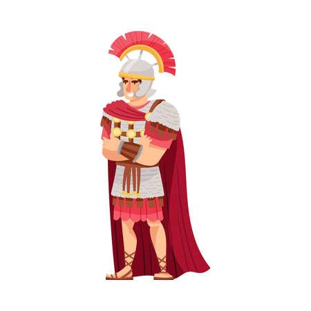 Ancient Roman Commander or Greek Warrior Leader Wearing Helmet and Cloak Vector Illustration