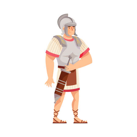 Ancient Roman Soldier or Greek Warrior Wearing Helmet Standing with Sword and Iron Armor Vector Illustration Vettoriali