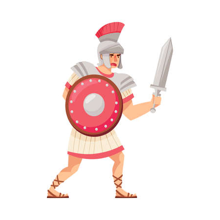 Ancient Roman Soldier or Greek Warrior Wearing Helmet Holding Sword and Shield Vector Illustration