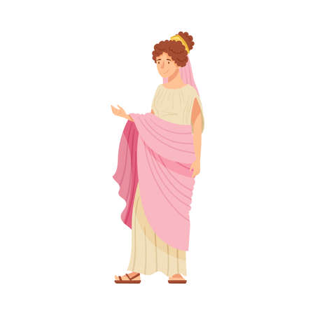 Young Female as Roman Empress in Long Dress Wearing Crown Vector Illustration