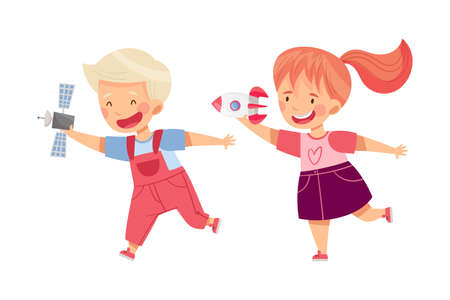Cute Boy and Girl Playing with Toy Spacecraft Vector Illustration