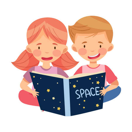 Curious Little Boy and Girl Studying Space and Galaxy Reading Book about Solar Planets Vector Illustration