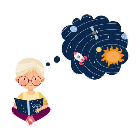 Curious Little Boy Studying Space and Galaxy Reading Book about Solar Planets Vector Illustration