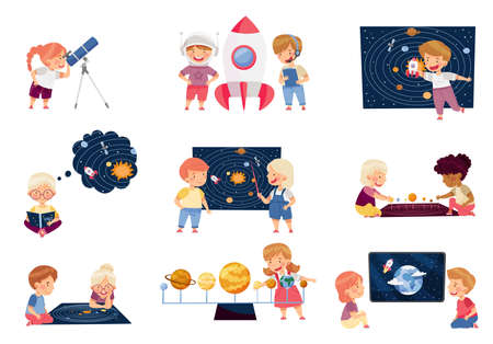 Children Characters Studying Space and Galaxy Examining Solar Planets and Playing with Spacecraft Vector Set