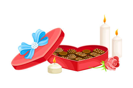 Heart Shaped Box with Chocolate Sweets and Burning Candles Vector Composition Ilustración de vector