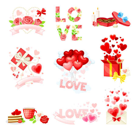 Happy Valentines Day with Red Heart, Rose Flower and Confectionery Vector Composition Set Vektorové ilustrace