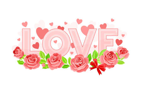 Valentine s Day Symbol with Love Word and Pink Rose Buds Vector Composition Ilustración de vector