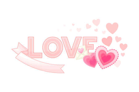 Valentine s Day Symbol with Love Word and Pink Hearts Vector Composition
