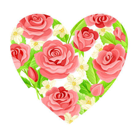 Valentine s Day Symbol with Blooming Rose Flowers Framed in Heart Shape Vector Composition Vettoriali