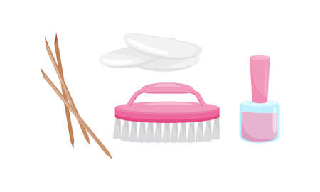 Manicure and Pedicure Tools with Nail Polish and Brush Vector Set