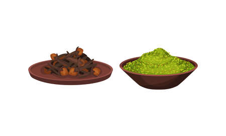 Heaps of Different Spices and Condiments Poured in Bowl Vector Set