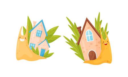 Cute Cartoon Snails Carrying House on Their Backs Vector Set
