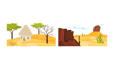 Desert Landscapes with Sand, Hut and Cactus Vector Set