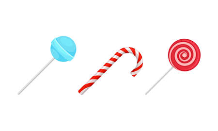 Twisted and Swirling Lollipops on Sticks Vector Set