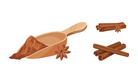 Dried Cinnamon Bark Strips and Bark Powder in Scoop Vector Set