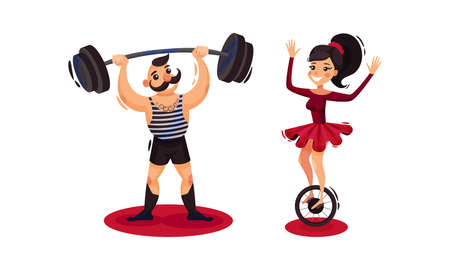 Man and Woman as Circus Artists and Acrobats Lifting Heavy Barbell and Balancing on Wheel Vector Set