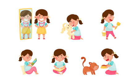 Cute Girl Character Reading Book, Feeding Cat and Playing with Toy Fluffy Hare Vector Set
