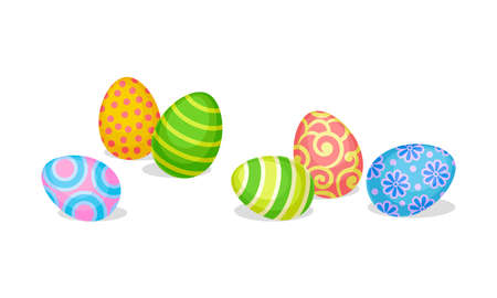 Decorated Easter Egg Scattering Around as Holiday Symbols Vector Set
