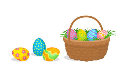Decorated Easter Egg in Wicker Basket and Scattering Around as Holiday Symbols Vector Set