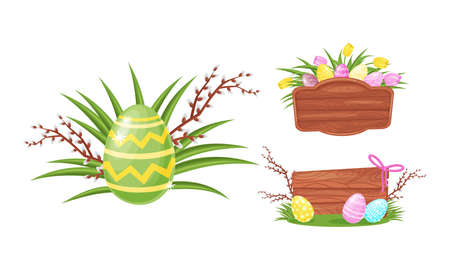 Decorated Easter Egg with Willow Branch, Tulips and Wooden Board as Holiday Symbols Vector Set