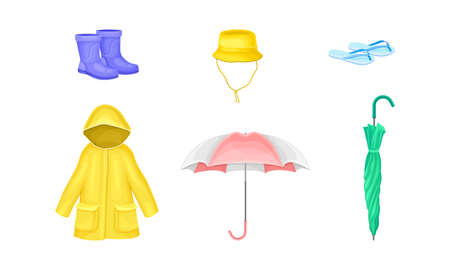 Waterproof Clothes and Things for Rainy Weather Condition with Yellow Raincoat and Umbrella Vector Set