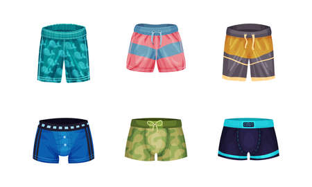 Loose-fitting Male Brief Shorts and Swimming Trunks Vector Set Vettoriali