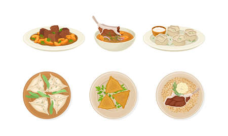 Traditional Dishes of Uzbek Cuisine with Dumplings and Mutton Soup Above View Vector Set