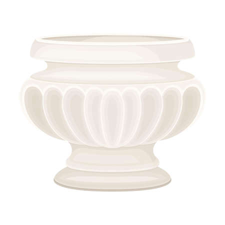 Antique Amphora with Wide Neck and Ornament Closeup View Vector Illustration