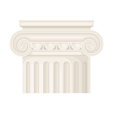Antique Stone Column or Pillar Element with Capital in Ionic Style and Ancient Ornament Vector Illustration