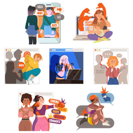 Victim of Cyberbullying Suffering from Violence and Hatred from Social Media Vector Illustration Set