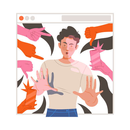 Victim of Cyberbullying Suffering from Violence and Hatred from Social Media Vector Illustration