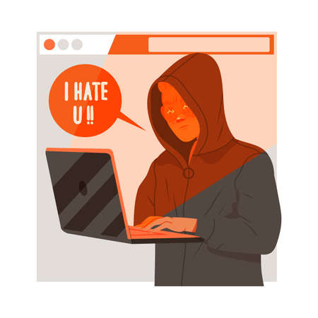 Young Male in Hoody at Laptop Writing Negative Comment Engaged in Cyberbullying Vector Illustration
