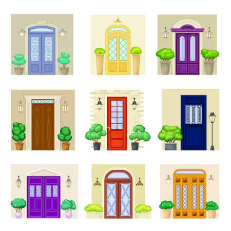 Front Door Facade with Decorative Bushes in Cachepot and Light Vector Set Ilustración de vector